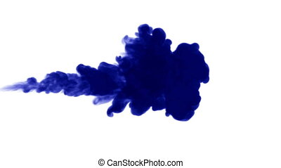 3d render of blue ink dissolve in water, simulation of ink...