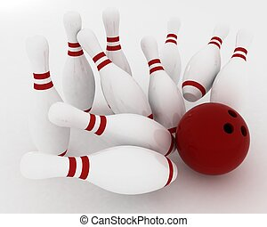 3d render of bowling ball crashing into the pins