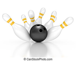 3d render of bowling exact hit pins on white background
