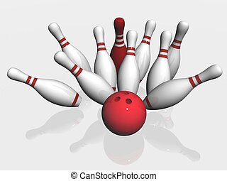 3d render of bowling on white