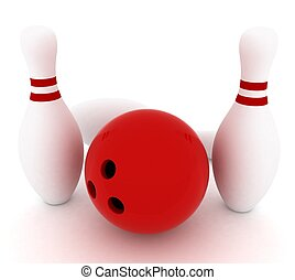 3d render of bowling on white background