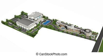 3d render of building