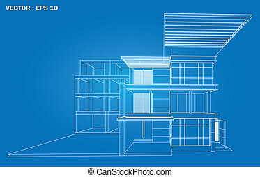 3D render of building wireframe