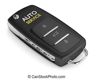 3d render of car key with auto service text