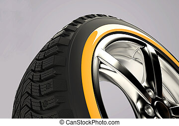 3d render of car wheel