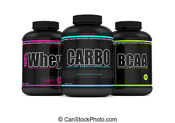 3d render of carbohydrates, whey, and bcaa jars - 3d render...