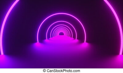 3d render of circle neon tunnel. Ultraviolet abstract background from round arcade. Computer generated a virtual reality