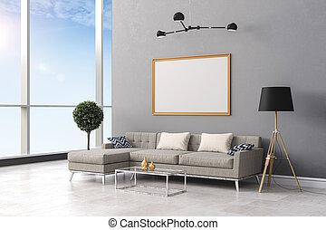 3d render of clean beautiful  interior room setup