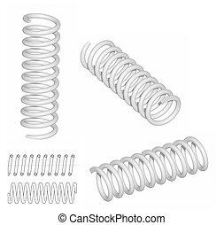 3D render of coil spring - Raster: Coil spring 3D render and...