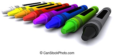 3D Render of coloured childrens wax crayons