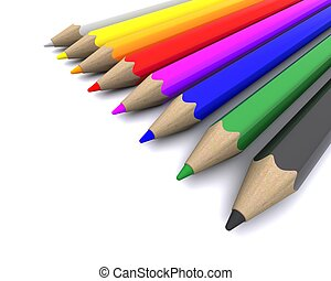 coloured pencil crayons - 3D Render of coloured pencil...