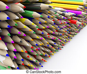 coloured pencil crayons - 3D Render of coloured pencil ...