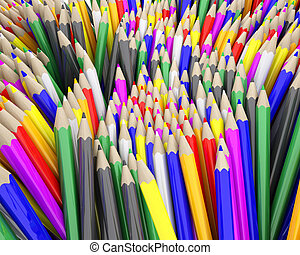 3D Render of coloured pencil crayons
