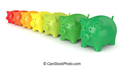3d render of coloured piggy banks isolated over white...