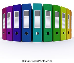 colourful folders - 3D Render of colourful folders