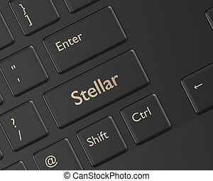 3d render of computer keyboard with Stellar button