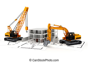 3d render of construction concept, on white