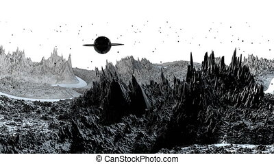 3d render of cosmic landscape as background or environment. Planet from space view from the spacecraft very detailed surface relief of the planet. Science fiction, wide viewing angle, timelapse. 70