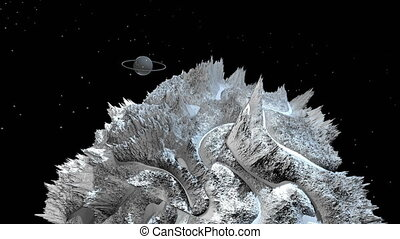 3d render of cosmic landscape as background or environment. Planet from space view from the spacecraft very detailed surface relief of the planet. Science fiction, wide viewing angle, timelapse. 98