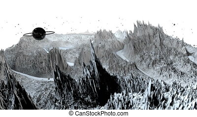 3d render of cosmic landscape as background or environment. Planet from space view from the spacecraft very detailed surface relief of the planet. Science fiction, wide viewing angle, timelapse. 88