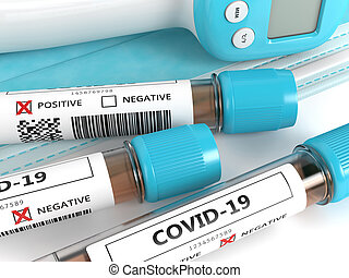 3d render of covid-19 nasal swab laboratory tests with protective mask and thermometer over white