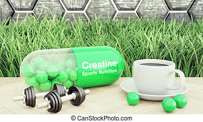 3d render of creatine big pill, Two dumbbells and a cup of coffee. Sport nutrition for bodybuilding 3d illustration