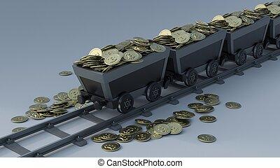 3D Render of Crypto Mining
