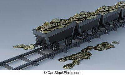Crypto Mining - 3D Render of Crypto Mining