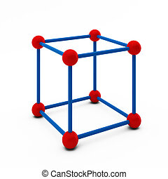 3d render of cube with balls at the corners