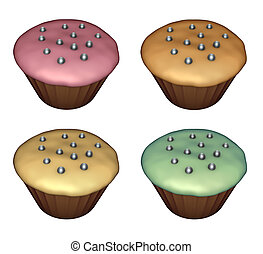 3d render of cup-cake on white in diferent colors