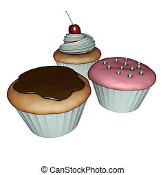 3d render of cup-cakes with cream,cherry and chocolate on white