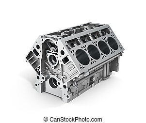 3d render of cylinder block from strong car with V8 engine...