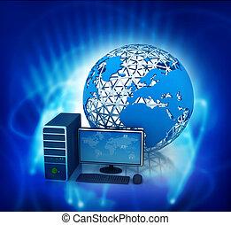 3d render of desktop computer with globe