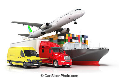 3d render of different modes of transport in one direction...