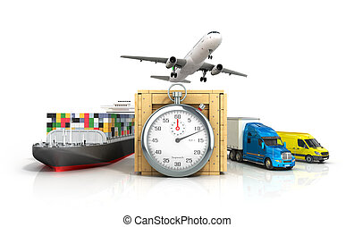 3d render of different modes of transport on the background of the stopwatch concept diverse deliveries of fast deliveries