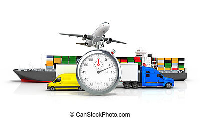 3d render of different  transport on the background of the stopwatch concept of fast diverse deliveries