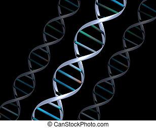 DNA strands - 3D render of DNA strands on black background