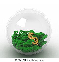 3d render of dollars