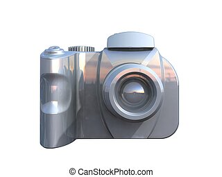 DSLR camera isolated on white background viewed from front
