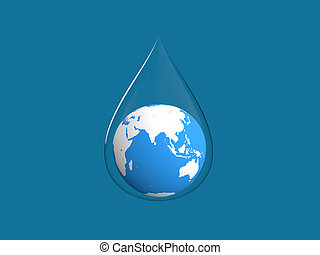 3d render of earth in water drop
