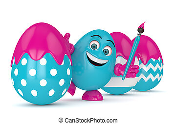 3d render of Easter cartoon egg with paintbrush over white...