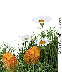 easter eggs in spring flowers - 3D render of easter eggs in...