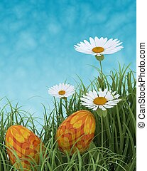 easter eggs in spring flowers - 3D render of easter eggs in...