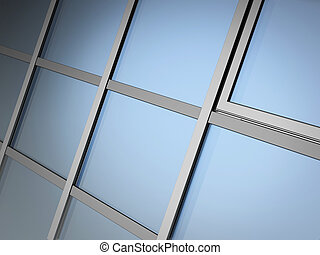 facade glazing system - 3D render of facade glazing system ...