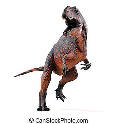 3d render of ferocious dinosaur on white background