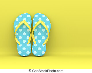 3d render of flip flops over yellow background with place for text
