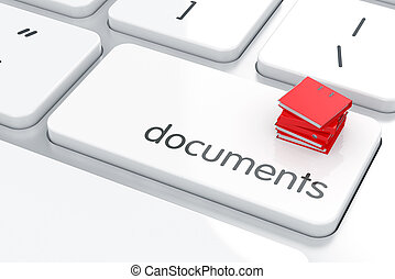 3d render of folders heap on the computer keyboard. Documents concept