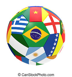 3D render of football with flags, representing all countries...