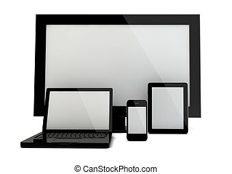devices - 3d render of four devices