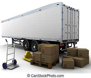 freight trailer and shipping boxes - 3D render of freight ...